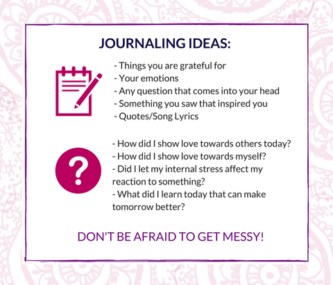 Journaling Ideas - Things Your Grateful For.  How did Is how love? What did I learn today?  Don't be afraid of getting messy!