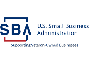 U.S. SBA logo with Supporting Veteran-Owned Businesses written below the logo.