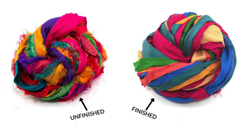 unfinished vs finished edges sari silk ribbon