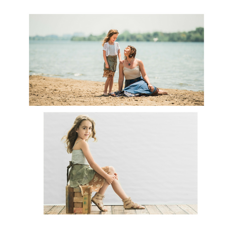 Two images of a mom and girl wearing sari wrap skirts sitting on the beach, and a little girl sitting on a wooden crate in a photo studio'