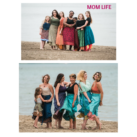 Two images of 6 women standing together on a beach wearing sari wrap skirts