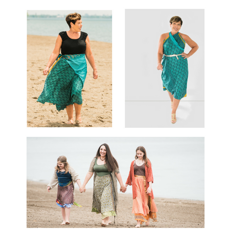 3 images of women and young girls wearing sari wrap skirts on the beach and in a clean white studio