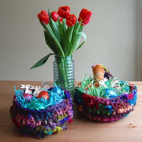 yarn baskets and a flower pot