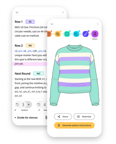 Mockup of Bellish app on phone showing striped sweater design and pattern.