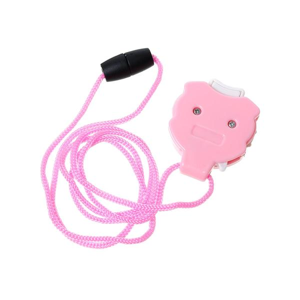 Pink retractable measuring tape with a long pink cord for hanging sitting on a white background
