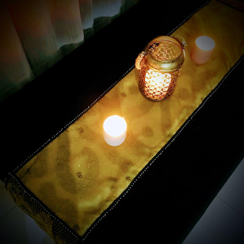 Finished Sari Silk Table Runner with Candles on Wooden Table