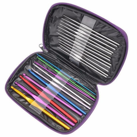 Black and purple case holding a large set of multicolored aluminum crochet hooks