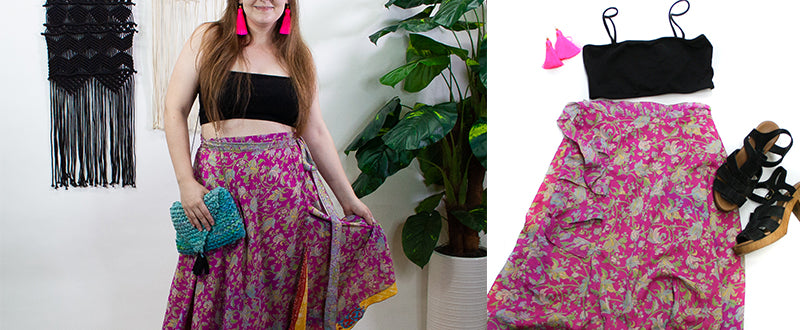 Women wearing sari wrap skirt with bikini top and tassel earrings