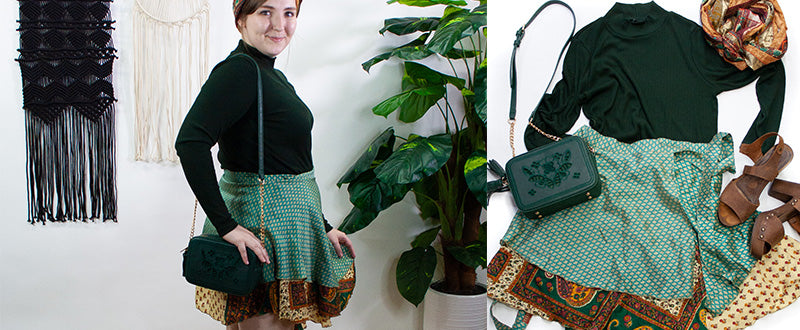 Woman wearing Sari Wrap Skirtand a green turtleneck