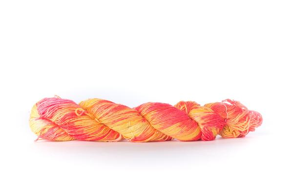 close up of yarn skein