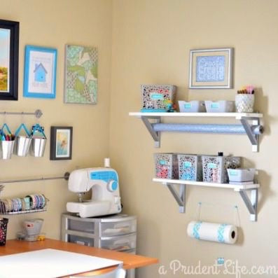 Organize your small craft room/craft space with hanging shelves