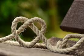 Beige rope tied in a heart shape sitting on a wooden bench with greenery in the background