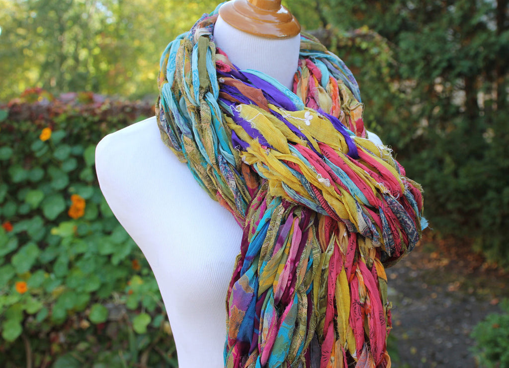 mannequin wearing a yarn scarf