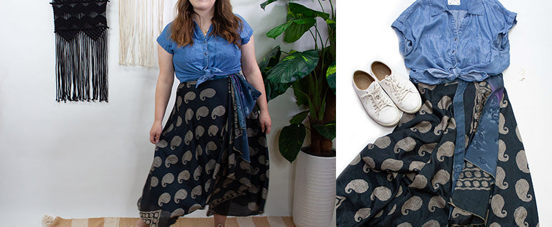 blue paisley reversible wrap skirt with denim shirt tied in front and white sneakers