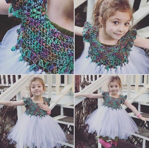 4-image collage with a little girl wearing a Girls fairytale crochet dress