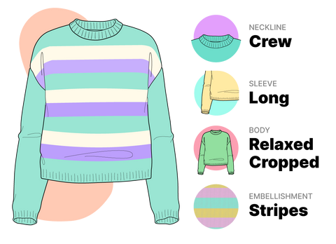 Sweater pattern ingredients for Bellish showing striped sweater illustration with teal, off-white and purple stripes