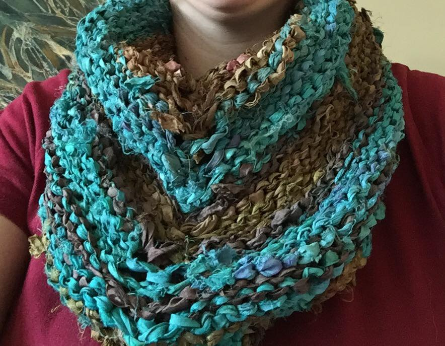 close up of yarn scarf