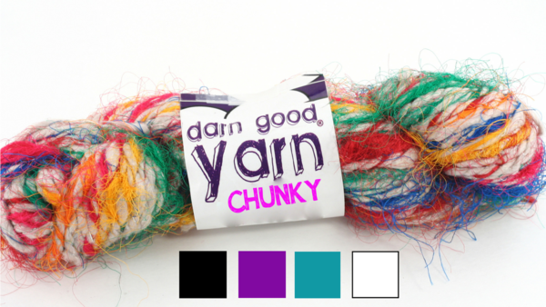 multicolored yarn skein with a darn good yarn tag