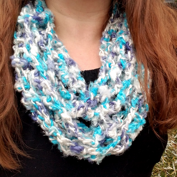 woman wearing Rainy Day Infinity Scarf in white and turquoise