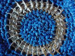 Blue and silver metal crochet circle