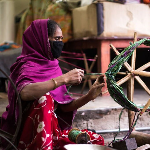 Sari Silk Ribbon being spun