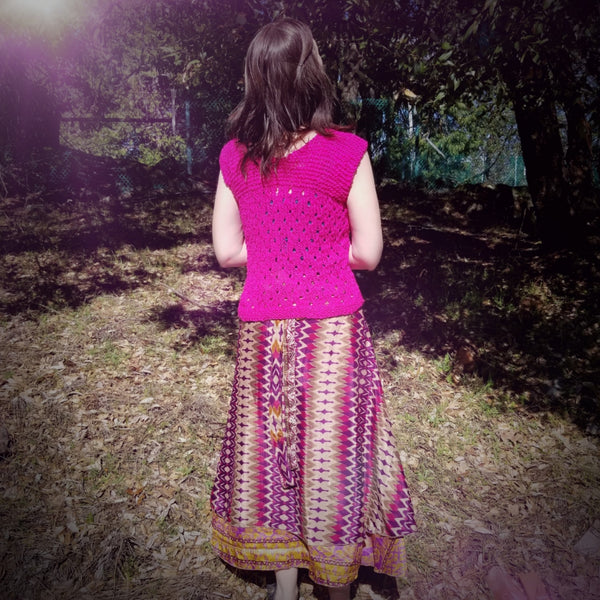 Spring Fling Tee and sari wrap skirt worn by woman in front of grass