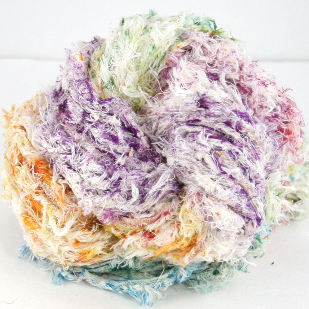 close up of colorful cotton yarn skein
