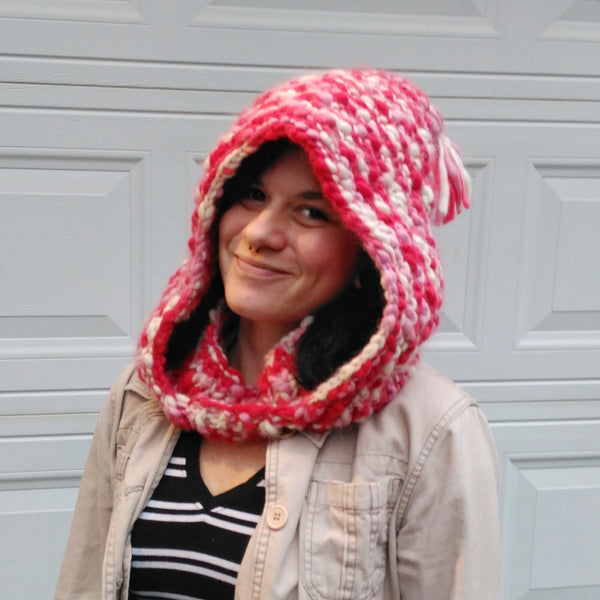 Woman wearing The Snuggly Love Bubble Cowl in front of a white wall