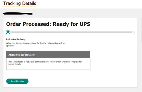 Tracking information from UPS, showing no movement on the order.