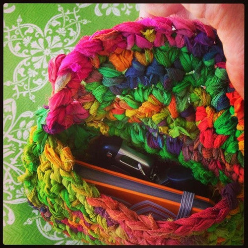yarn bag with car keys and keypad inside