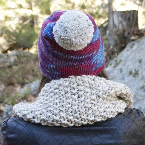 Double Double Striped Hat Double brim ribbed knit hat Chunky knit hat with double brim triple striped hat