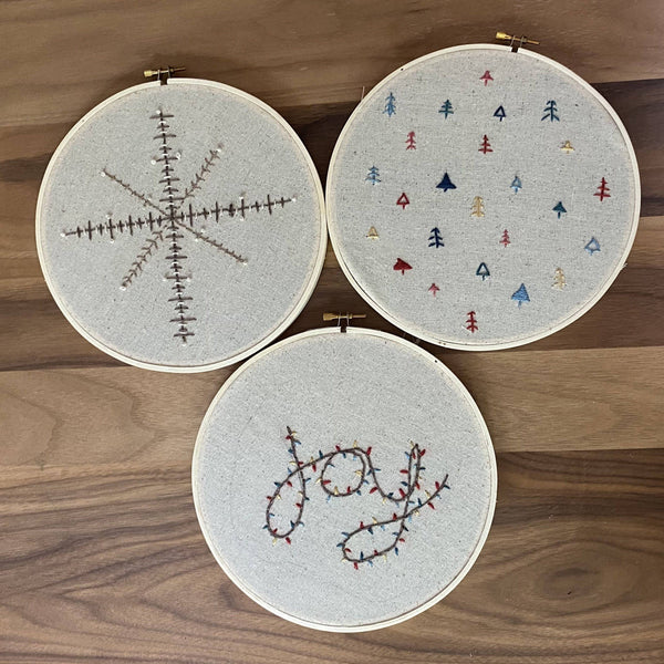 Holiday Joy, Forest & Snowflake Embroidery Pattern