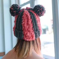 Stripped Double PomPom Hat