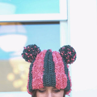 Striped Double PomPom Hat