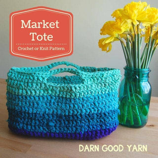Market Tote Chiffon Ribbon EASY Crochet and Knit Pattern