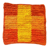 Orange and yellow square placemat sitting on a white background