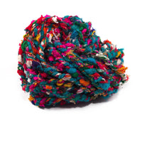 Chunky Recycled Silk Yarn Penny Candy - Blue Base