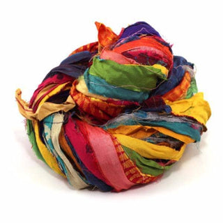 At the Bahamas: Multi Colored Sari Silk Ribbon Yarn