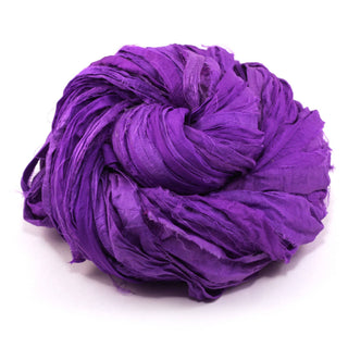 Neon Handmade Sari Silk Ribbon - Mercury Purple