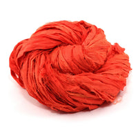 Neon Handmade Sari Silk Ribbon - Sodium Orange