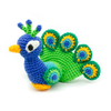 blue, green and yellow peacock amigurumi on a white background