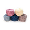 5 skeins of naturally dyed yarn on a white background ( purple light blue, dark blue, white and grey)