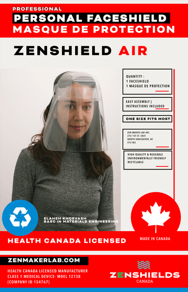 ZenShields Canada - Reusable Face Shield - Air (1 Unit)
