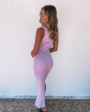 RIVIERA KNIT MIDI DRESS || Lilac