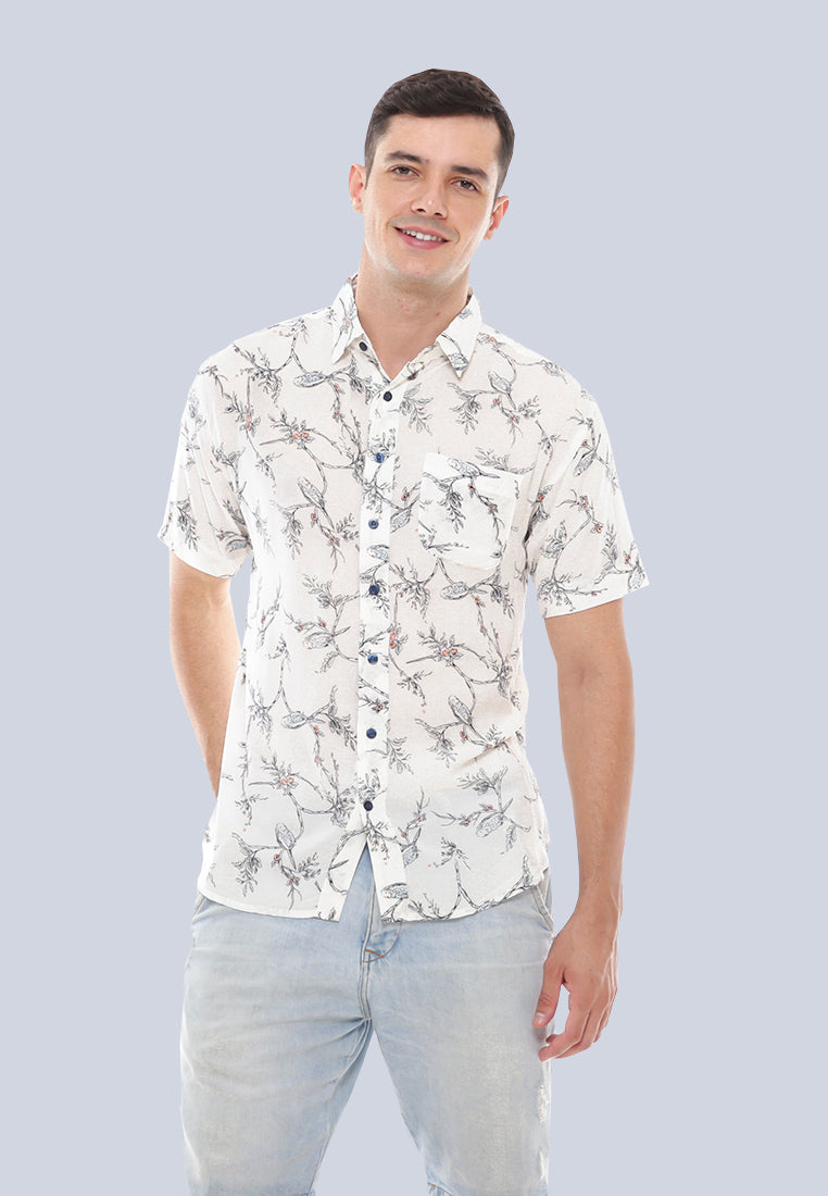 Sunset Shirt - White Leaves