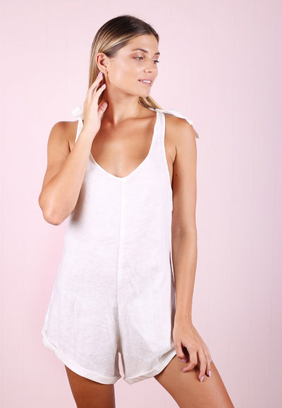 Tie Up Playsuit - White