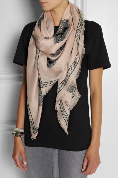 Printed fine-knit modal and silk-blend scarf