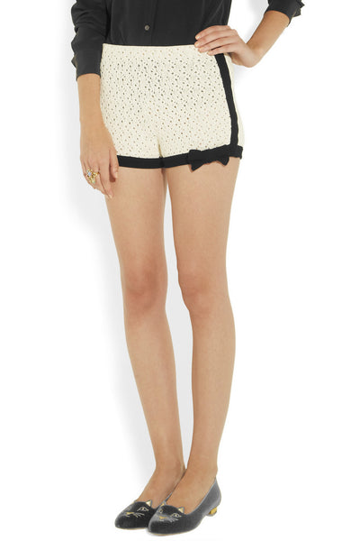 Crocheted cotton-blend shorts
