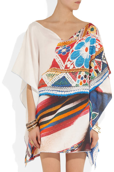 Qepi printed cotton and silk-blend twill kaftan