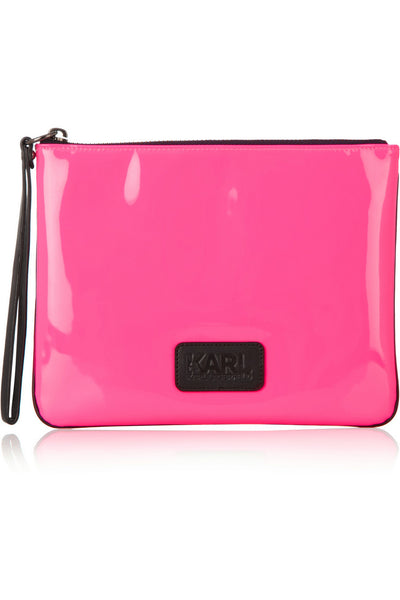 Neon patent-leather pouch
